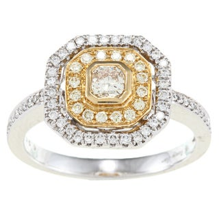 D'Yach 18k Two-tone Gold 1/2ct TDW Yellow Diamond Ring