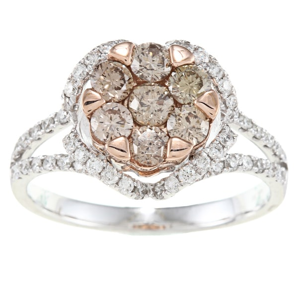 D'Yach 14k Two-tone Gold 1 1/3ct TDW Brown and White Diamond Ring