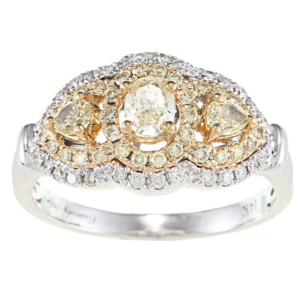 D'Yach 14k Two-tone Gold 1ct TDW White and Yellow Diamond Ring