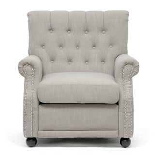 Lombardi Light Grey Linen Modern Club Chair