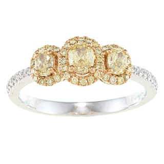 D'Yach 14k Two-tone Gold 3/4ct TDW Yellow and White Diamond Ring