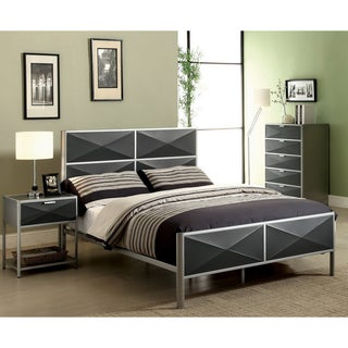 Furniture of America Zillo 2-piece Contemporary Two-tone Metal Bedroom Set