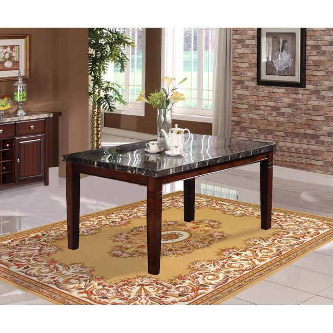radians black marble top dining table 14362743 overstock com