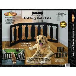 Bone Decor Wooden 3-section Folding Pet Gate