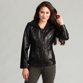 Jones New York Women's Black Leather Jacket