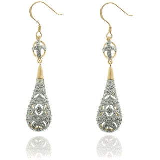 Finesque Sterling Silver Two-tone Diamond Accent Teardrop Earrings