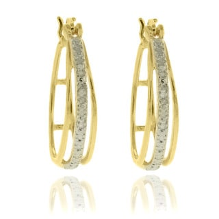 Finesque Sterling Silver Two-tone Diamond Accent Hoop Earrings