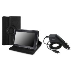 Black Leather Swivel Case/ Car Charger for Amazon Kindle Fire