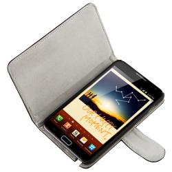 Black Leather Case with Stand/ Charger for Samsung Galaxy Note N7000