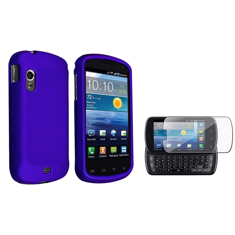 INSTEN Blue Rubber Coated Phone Case Cover/ LCD Protector for Samsung Stratosphere i405