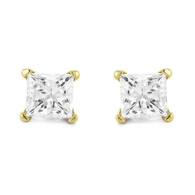 Montebello 14k Yellow Gold 1/3ct TDW Diamond Princess-cut Stud Earrings (I-J, I1-I2)