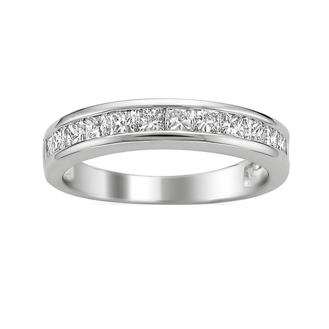 14k White Gold 3/4ct TDW Princess Diamond Wedding Band (H-I, I1)