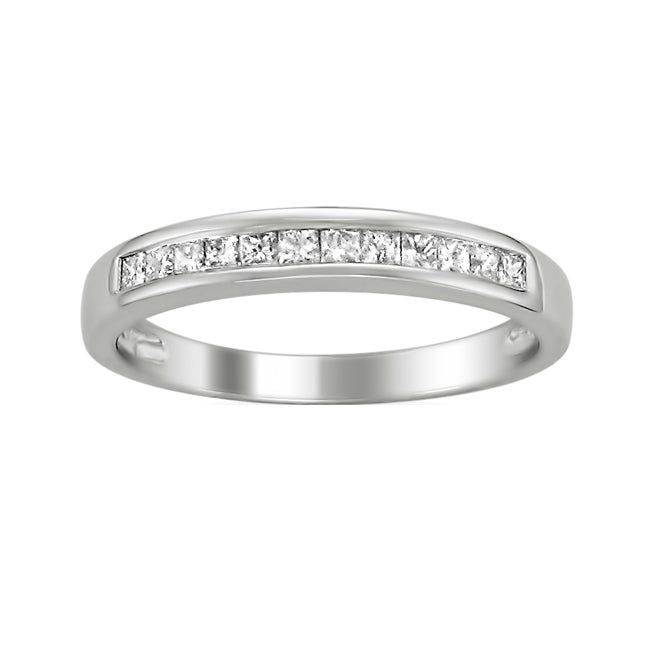 14k White Gold 1/3ct TDW Princess-cut Diamond Wedding Band (H-I, I1-I2)