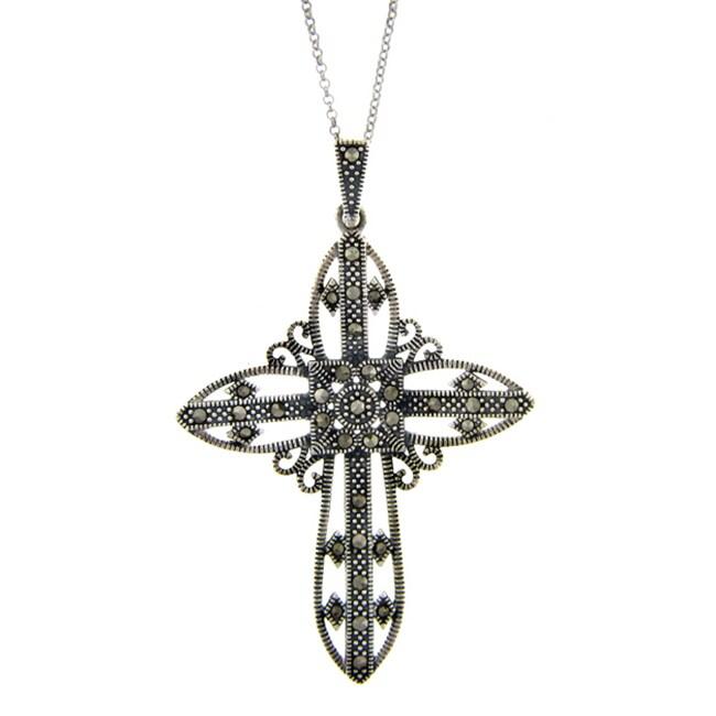 Dolce Giavonna Silverplated Marcasite Filigree Design Cross Pendant