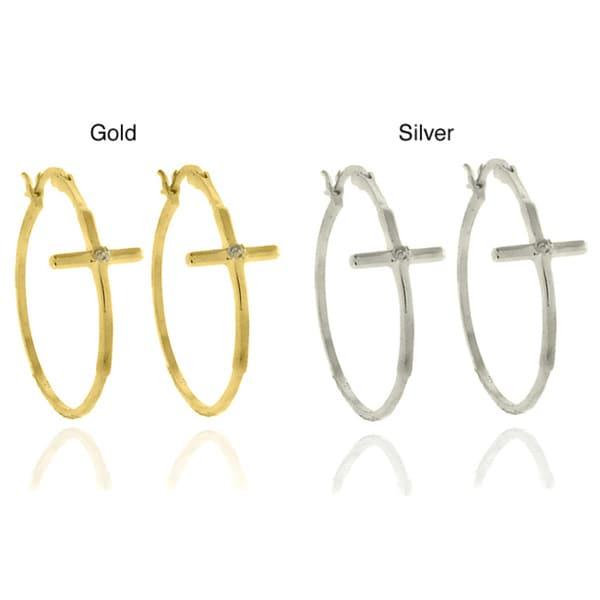 Finesque Sterling Silver Diamond Accent Cross Hoop Earrings