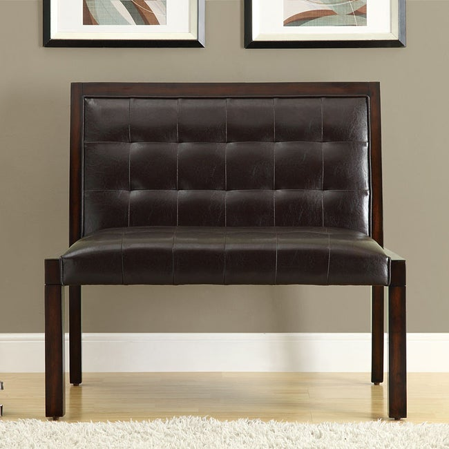Dark Brown Leather-Look Cappuccino Wood Bench