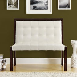 Taupe Leather-Look Cappuccino Wood Bench