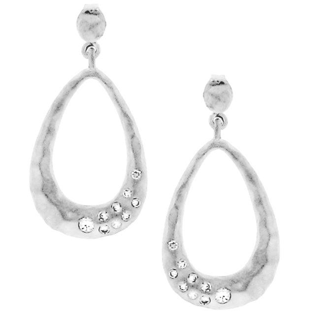 Large Tear-drop CZ Dangle Earrings