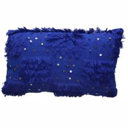 nuLOOM Decorative Moroccan Embroidered Blue Wool Pillow