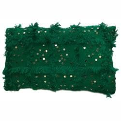 nuLOOM Decorative Moroccan Embroidered Green Shawl Pillow