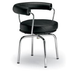 LC7 Black Leather Swivel Armchair