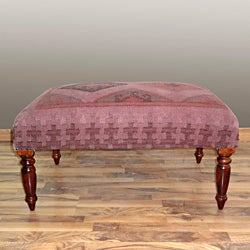 nuLOOM Handmade Overdyed Purple Wood Bench