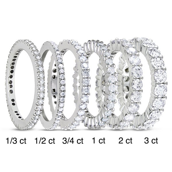 Miadora 14k White Gold TDW Diamond Eternity Ring (G-H, I1-I2)