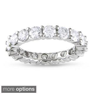 Miadora 14k White Gold TDW Certified Diamond Eternity Ring (G-H, I1-I2)