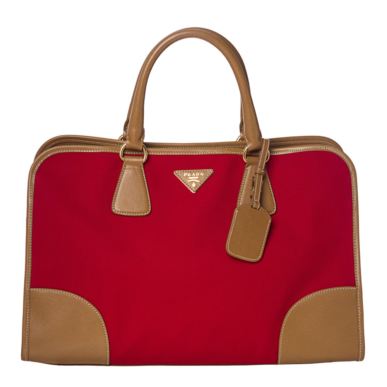 Prada Red Canvas/ Saffiano Leather Tote Bag - 14364185 - Overstock ...
