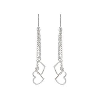 Sunstone Sterling Silver Double Heart Chain Dangle Earrings