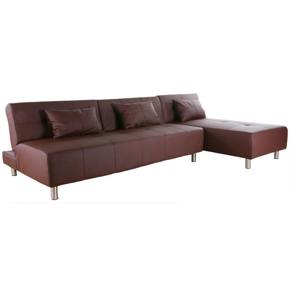 Atlanta coffee convertible sectional sofa bed 14364250 for Sectional sofa bed overstock