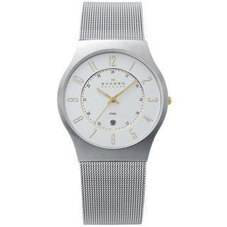 Skagen Men's Slimline Silver Dial Mesh Watch