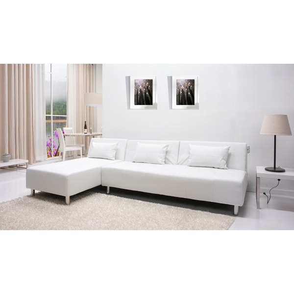 Atlanta white convertible sectional sofa bed 14364251 for Sofa bed overstock