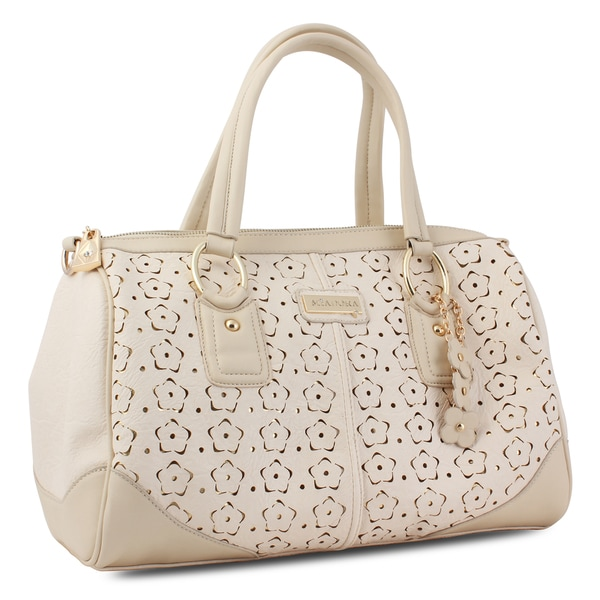 M by Miadora 'Connie' Cream Laser-cut Satchel