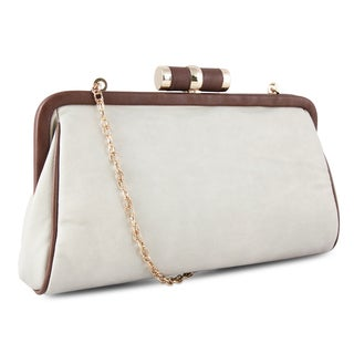 M by Miadora 'Lady Pia' Soft Grey Clutch