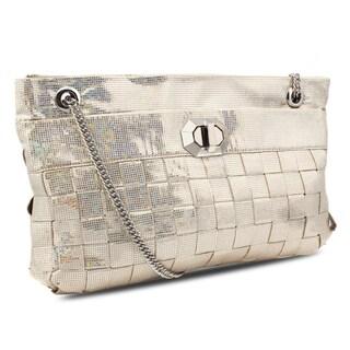Miadora 'Lucille' Silver Woven Shoulder Bag