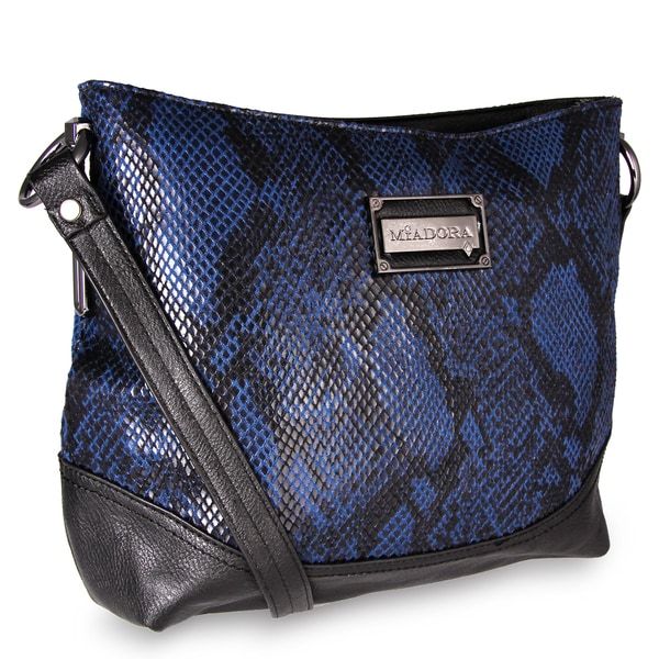 M by Miadora 'Bayla' Navy Snake Embossed Shoulder Bag
