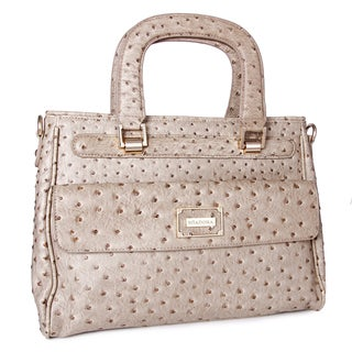 M by Miadora 'Corinne' Brown Ostrich-embossed Satchel