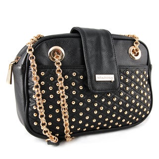 M by Miadora 'Juliana' Black Studded Shoulder Bag
