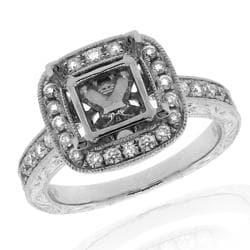 14k White gold 1/3ct TDW Diamond Semi Mount Engagement Ring (G-H, SI-1/SI-2)