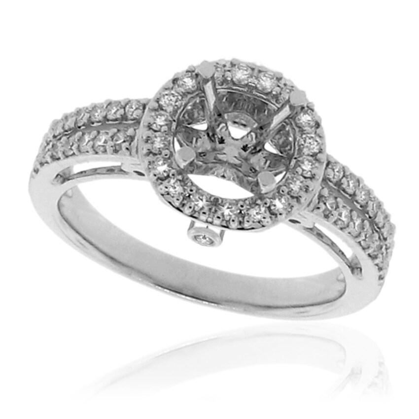 14k White Gold 1/3ct TDW Semi-mount Prong-set Diamond Engagement Ring (G-H, SI-1/SI-2)