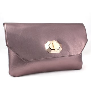 M by Miadora 'Naomi' Metallic Bronze Clutch
