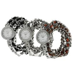 Geneva Platinum Women's Rhinestone-studded Wrap-around Stainless Steel Watch