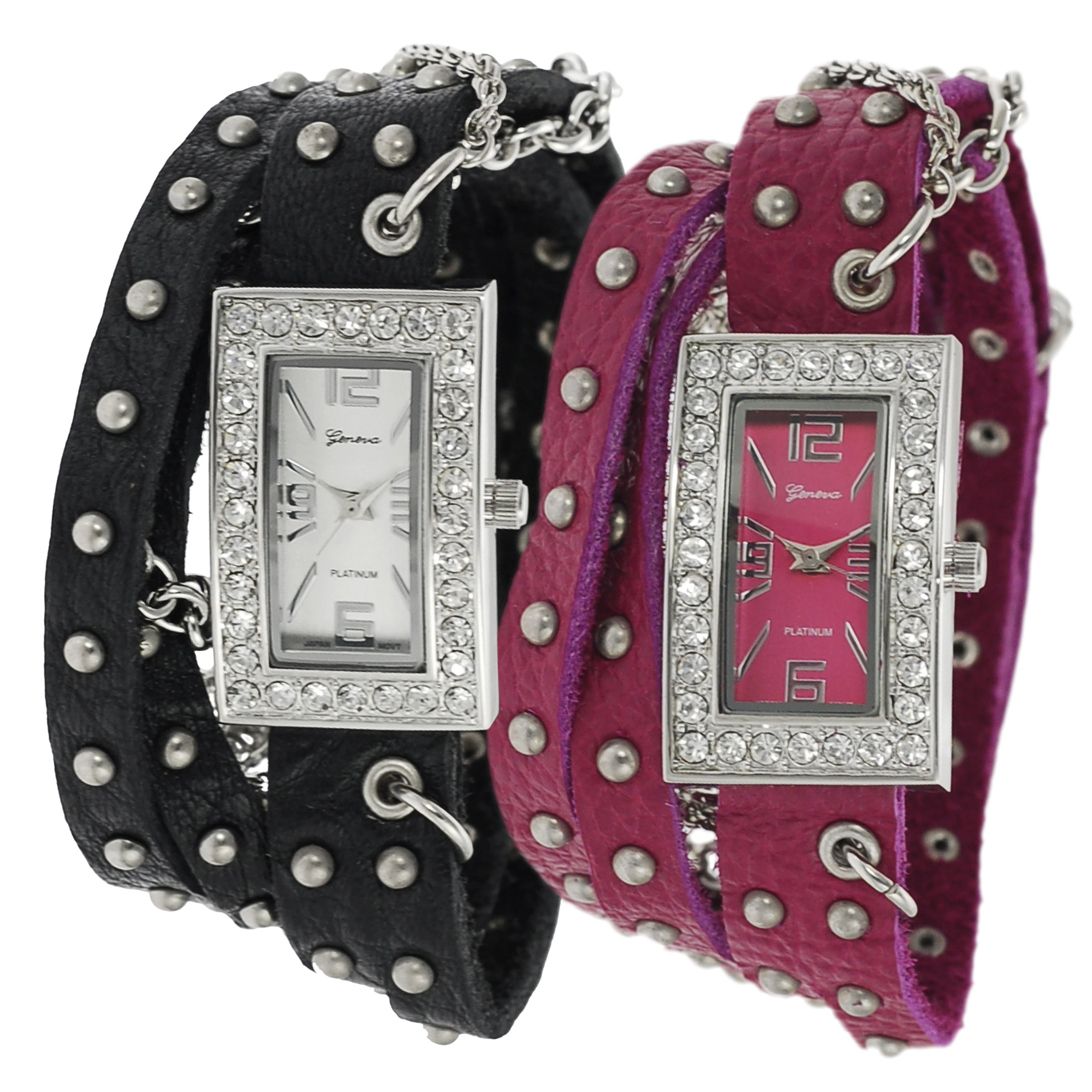 Geneva Platinum Women's Rhinestone Chain Studded Wrap-around Watch