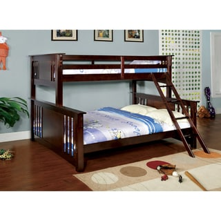 Furniture of America Contemporary Junior Twin Over Queen Bunk Bed with Chest Set