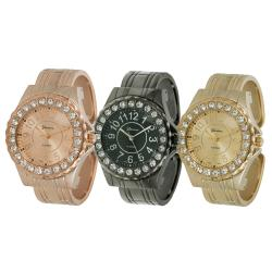 Geneva Platinum Women's Rhinestone-accented Cuff Watch