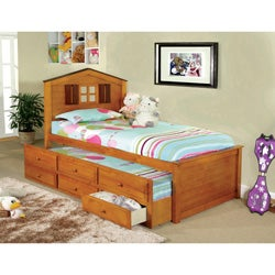 Furniture of America Tree House Captain Twin Bed With 3 Drawer Twin Trundle