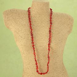 Handcrafted Ruby Red Baltic Amber Freeform Necklace (Lithuania)