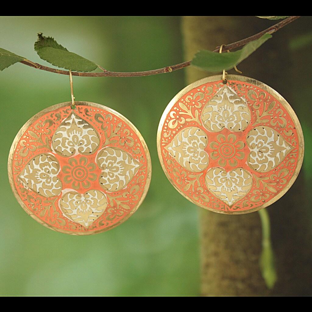 Handcrafted Large Goldtone Orange Enamel Drop Earrings (India)