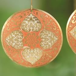 Handcrafted Large Goldtone Orange Enamel Drop Earrings (India)